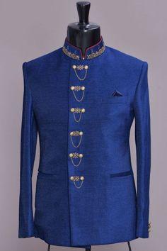 Blue Zari Embroidered Italian Jodhpuri Suit-VK1888 Nigerian Men Fashion, Indian Men Fashion, Mens Fashion Suits, Mens Suits, African Fashion, Wedding Coat Suit, Wedding Dress Men, Kurta Men, Mens Sherwani