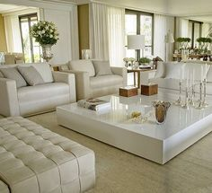We Home Design — All white living room. Home Living Room, Living Room Designs, Living Room Decor, Living Area, Spacious Living Room, Cozy Living, Simple Living, Modern Living, Sala Grande