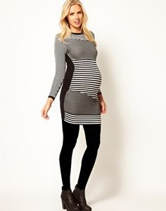 Enlarge ASOS Maternity Knitted Bodycon Dress In Stripe