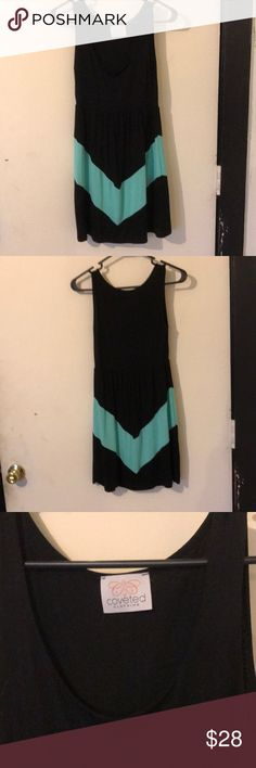 Just In🧚♀️Coveted Clothing Mint Chevron dress Adorable Coveted Clothing from Goldfinch Boutique in Black with mint Chevron feel u neck tank style sleeveless perfect casual or with jacket for office -I have sold same dress in White Chevron received 5⭐️ Coveted Clothing Dresses