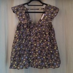 BCBG ruffled blouse BCBG blouse.  Only worn once! Gray blouse with tan, yellow, black, and periwinkle splashes of color. Tops Blouses