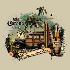 Men's Corona Retro Vintage Surf T Shirt Retro Vintage, Vintage Labels, Retro Poster, Vintage Posters, Vintage Surfing, Style Surf, Deco Surf, Foto Art, Surf Art