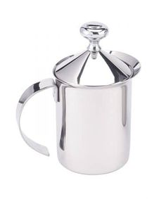 Add rich, creamy froth to your favorite cafe drinks with the handy HIC Stainless Steel Milk Frother Pitcher with Handle and Lid. Boasting a built-in double-mesh aerator and an easy-grip handle, this frother makes milk froth in 60 seconds or less. Cappuccino Coffee, Cappuccino Machine, Coffee Machine, Thing 1, Italian Coffee, Good Find, Tear, Cool Kitchens, Kitchen Dining