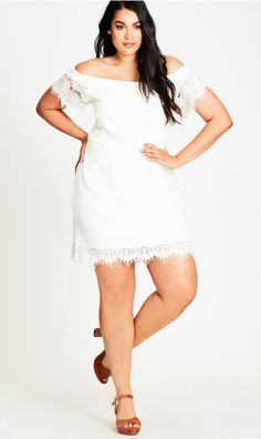 70cd442e3f3ad Bride to Be  Ivory Lace Off-Shoulder Shift Dress  119.00  citychicusa   bridetobe