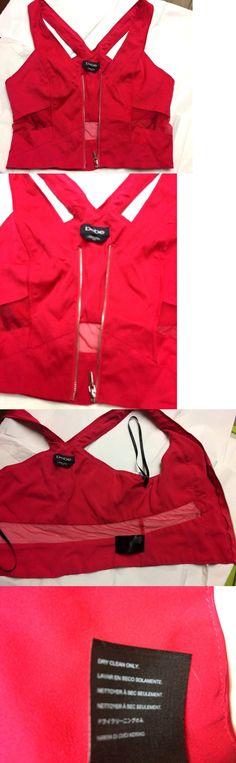 a984e0112e4b5 Shirts Tops 50990  Bebe Sexy Crop Top Racerback Front Zipper Stretch  Sleeveless Mesh Cutout Red
