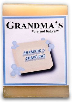 GRANDMA'S Shampoo/Shave Bar, 4.0 oz. This rich lathering bar cleans hair without stripping natural oils leaving it soft and manageable without the need for chemical conditioners. Lather preconditions skin allowing for a clean, close shave without razor burn. Leaves skin soft and supple; never dry.