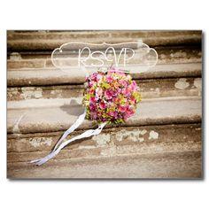 Bridal Bouquet Wedding RSVP with Photo Postcard