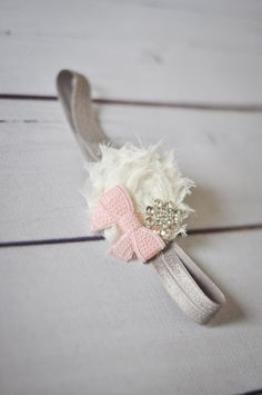Girls Headband, Pink and Grey Headband, Toddler Headband, Flower Girl Hair Band, Spring Headband, Newborn Headband, Newborn Photo Prop. $13.00, via Etsy.