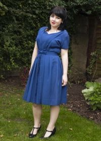 1950s Royal Blue Satin Cord Party Dress with Bow Belt £60 from Upstaged Vintage