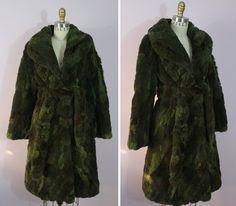 1970s Green Patchwork Fur Coat / 70s Long Fur by livinvintageshop