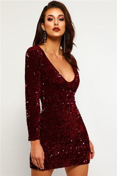 be00a1296bb8 Sequins V-Neck Long Sleeve Women s Party Dress
