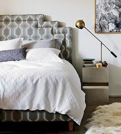 Deco queen bed in Belgian grey and Curtis table in silver leaf