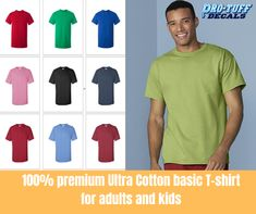 Order a 100% Premium Ultra Cotton Basic T-Shirt for Adults and Kids from Gildan. Heavier cotton for a more durable look. Expertly printed at Pro-Tuff Decals for your sport, organization or activity. Available in many colors and sizes. #cottontees #customtees #customtshirt #cottontshirt Personal Fitness, Custom Tees, Design Development, Cross Country, Cotton Shorts, Tshirts Online, Design Your Own, Sport Outfits, Colorful Shirts