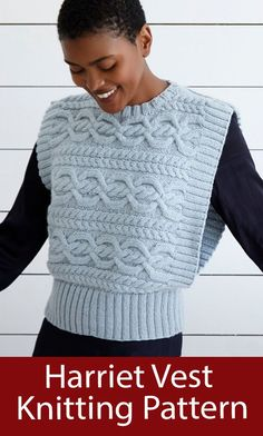 Vest Knitting Pattern Harriet Waistcoat - Cabled sleeveless pullover vest or waistcoat knit sideways. Sizes To Fit Bust: 81cm to 127cm. Aran weight yarn. Designed by Debbie Bliss