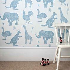 White Blue Machine Animal Wallpaper for Children | How It Works | PaperBoy Kids Bedroom Wallpaper