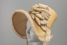 """Bonnet, ca 1815 US, the Museum of Fine Arts, Boston """" Woven straw bonnet trimmed with cream silk taffeta ribbon and plaited straw """" Silk Bonnet, Bonnet Hat, Historical Costume, Historical Clothing, Vintage Outfits, Vintage Fashion, 1800s Fashion, Silk Taffeta, Antique Clothing"""