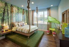 Chambre originale garçon jungle et lit à cordes