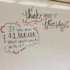 This would be cool if the question pertained to the lesson somehow. Creative way to start class. Make it Monday, talk about it Tuesday, work it out Wednesday, think about it Thursday, free draw it Friday? Daily Writing Prompts, Teaching Writing, School Classroom, Classroom Activities, School Kids, Future Classroom, Morning Board, Morning Activities, Bell Work