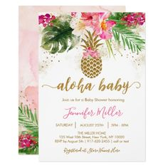 Shop Gold Pineapple Floral Tropical Bridal Shower Invitation created by LittlePrintsParties. Luau Bridal Shower, Tropical Bridal Showers, Floral Baby Shower, Flamingo Baby Shower, Shower Baby, Tropical Weddings, Baby Girl Shower Themes, Flamingo Party, Tropical Party