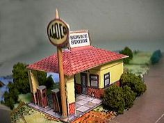 Brian White's Service Electric Filling Station  - There is so much history on the site about all the models.  For this model here is an example: The Newbury Electric Filling Station opened in 1934 at the junction of Newton Road and Monks Lane, off a minor roundabout. It occupies a prominent site at a significant road junction. It is located in a primarily residential area on the south side of Newbury. When it was built the A34 was the main trunk road. The service station was designed and bui