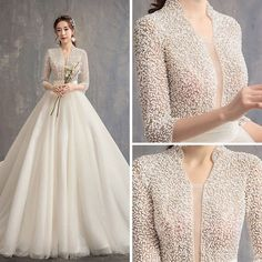 Chinese style Ivory Wedding Dresses 2019 A-Line Princess V-Neck 3 4 Sleeve Handmade Beading Glitter Tulle Cathedral Train Ruffle Fairy Wedding Dress, Wedding Dress Chiffon, Wedding Gowns With Sleeves, Modest Wedding Dresses, Bridal Dresses, Dresses With Sleeves, Wedding Dress Styles, Unique Wedding Dress, Dresses Dresses