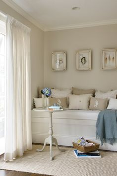 Suzie: Molly Frey Design - Charming reading nook with greige walls paint color, built-in ...