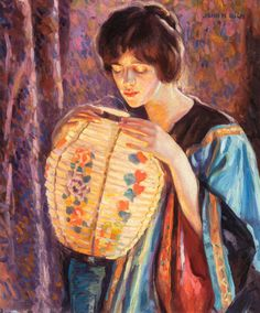 """Portrait of a Woman with Decorative Lantern,"" John Hubbard Rich, 1916"