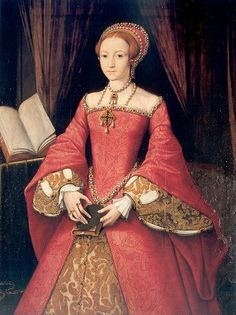 An early portrait of Elizabeth, when she was a teenager. Pay particular attention to the pendant on her necklace, and see another pin on this board showing a modern replica of it.
