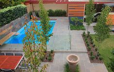 Swimming pool garden design the definition of an attractive and beautiful swimming pool is not an ordinary swimming pool one that you have seen in your entire life. They only consist of vessel beam with wall tile and the blue . Backyard Pool Landscaping, Modern Landscaping, Front Yard Landscaping, Landscaping Ideas, Backyard Ideas, Outdoor Ideas, Modern Backyard, Pool Landscape Design, Garden Design