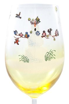 Hand Painted Snowfolks Wine Glass Design, Snowman Poses as Winter Wonderland Sanctuary For an Array of Colorful Birds, 20 Ounce, Golden Amber Glass, Large Wine Glass, Custom Wine Glass, Decorated with Snowflakes -- Don't get left behind, see this great cat product : Cat mug