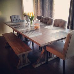 Love the idea of having a bench seat along with high back chairs!