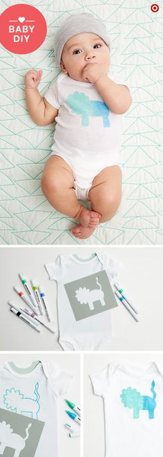 Looking for a fun baby shower activity for guests to participate in? This DIY is the perfect way to provide the parents-to-be with loads of essential bodysuits that are completely customized. You're going to need the following supplies for this activity: Gerber Onesies (in a variety of sizes), Hand Made Modern paint markers, stencils and a little creativity. Simple, fun and Mom and Dad will love 'em.