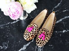 Lacos Collection Slipper in Leopard Cavallino with Bright pink tassel