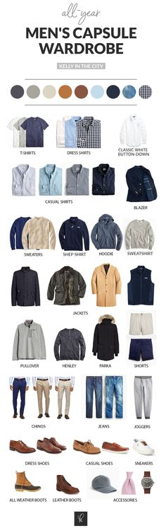 This Men's Capsule Wardrobe is geared toward the preppy and classic, and designed for year-round wear. Here are the fundamental basics! Capsule Wardrobe Casual, Men's Wardrobe, Summer Wardrobe, Minimalist Wardrobe Men, Abercrombie Men, Men Style Tips, Gentleman Style, Fashion Outfits, Preppy Mens Fashion