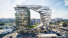 Morphosis has unveiled new images of the proposed mixed-use development along the Sunset Strip in Los Angeles. Spanning along Sunset Boulevard between San Vicente Boulevard and Larrabee … Hotel Los Angeles, Los Angeles Museum, Hollywood Street, West Hollywood, Morphosis Architects, Architecture Design, Parametric Architecture, Building Architecture, Beautiful Architecture