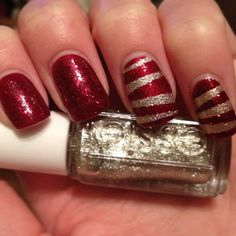 My Nail Art - These were my Essie Christmas Nails **Love my designs...why not follow me on Instagram IG@teenbeaningtons