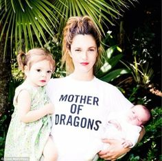 Drew Barrymore with her daughters Olive and Frankie wearing a Game of Thrones shirt
