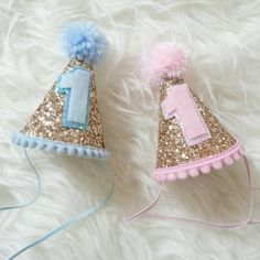 Glittery Mini Party Hats, twin birthday, pink or blue, first birthday, party hat, cakesmash, prop, boy/girl twins, pink and gold, baby blue by Kutiebowtuties on Etsy https://www.etsy.com/listing/229351119/glittery-mini-party-hats-twin-birthday