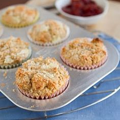 Coconut Pineapple Muffins Recipe Breads with whole wheat flour, all-purpose flour, wheat germ, salt, baking powder, sunflower oil, eggs, coconut milk, pineapple