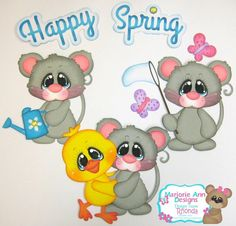 Happy Spring Mice boy girl paper piecing set for scrapbook pages Rhonda rm613art