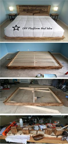 17 Wonderful Diy Platform Beds is part of Diy bed frame - 17 Wonderful Diy Platform Beds Diy & Decor Selections Rustic Wooden Headboard, Diy Bed Frame, Diy Queen Bed Frame, Wooden Bed Frame Diy, Bed Frames, Style Deco, Diy Headboards, Platform Beds, Pallet Platform Bed