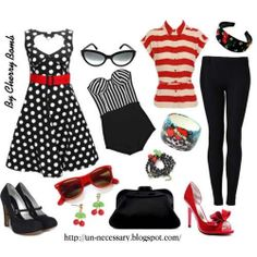 Cute rockabilly outfit. I love the shoes and the polka dottie dress.
