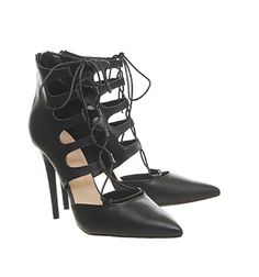 Office Pasha Lace Up Point Court Shoes Black Leather - High Heels