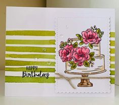 Stampin' Up! Happy birthday to you Birthday Cake Card, Happy Birthday Cakes, Diy Cards, Craft Cards, Hand Stamped Cards, Stamping Up Cards, Card Maker, Wedding Cards, Cardmaking