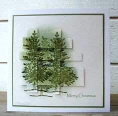 "By Birgit Edblom (Biggan at Splitcoaststampers). Trees from Stampin' Up ""Lovely as a Tree"" stamp set. Trees stamped on background & stamped again on another piece of cardstock; then cut into strips. Strips interwoven and popped up on background with images matching."