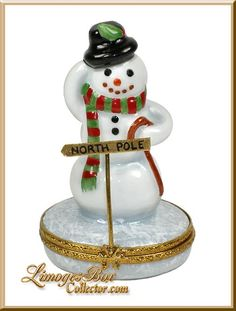 Cheerful Snowman at the North Pole Limoges Box by Beauchamp www.LimogesBoxCollector.com