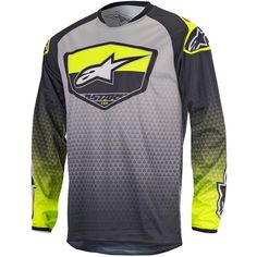 Alpinestars 2017 Racer Supermatic Anthracite Fluro Yellow Jersey at MXstore 5d594d556