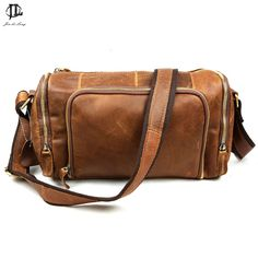 7b0e026001 Brand Barrel Retro Oil Wax Crazy Horse Genuine Leather Cowhide Travel Bags  Crossbody Shoulder Bag Messenger Bag Men Women s-in Crossbody Bags from  Luggage ...