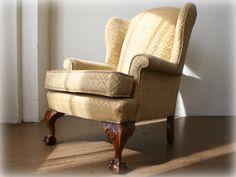 チッペンデールウィングチェア Denim Furniture, Wingback Chair, Accent Chairs, Bedroom, Home Decor, Upholstered Chairs, Decoration Home, Room Decor, Wing Chairs