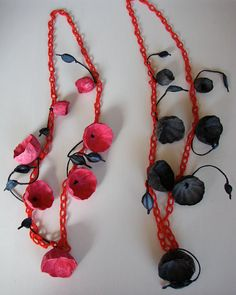 Red  Black Statement Necklace Eco Friendly Paper Jewelry